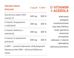 C-Vitamiin+Acerola koostis